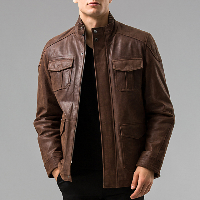S 6XL Men's Genuine Leather jacket Pigskin Real leather jackets ...