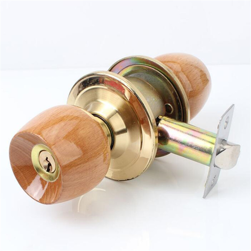 1 Set Wood And Metal Internal Door Lock Round Ball Door Knobs Handle With Key For Bedroom Living Room Bathroom Hardware