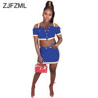 Summer Denim Two Piece Set Dress Tracksuit For Women Buttons Up Short Sleeve Crop Top+ Rainbow Striped Mini Skirt Bandage Dress