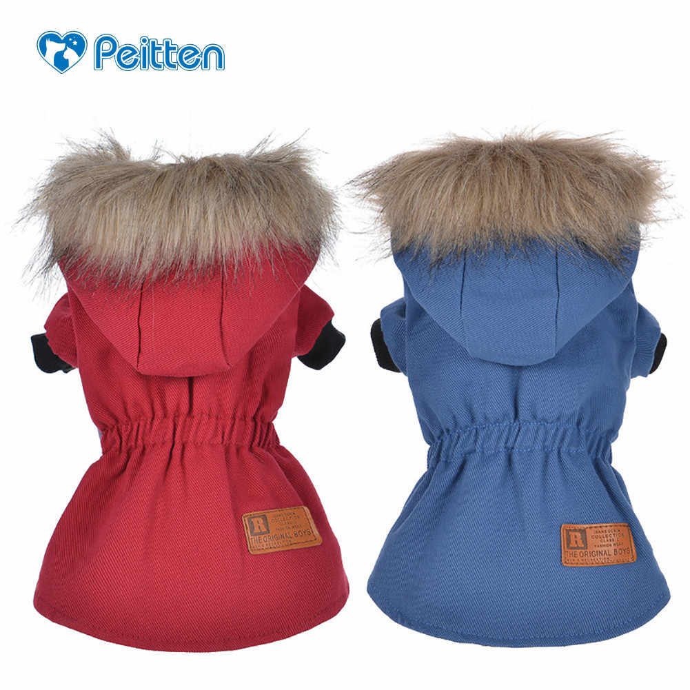 High Qulaity Dog Puppy Winter Jacket Slim Cotton -padded Clothes Coat with Fur Collar for Pet Dogs Pet Animals Cat Warm Clothing