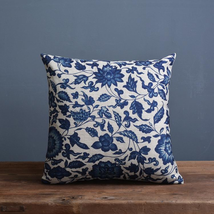 Vintage Blue Throw Pillows : case stationery Picture - More Detailed Picture about Vintage Blue Floral Pillow Case Cushion ...