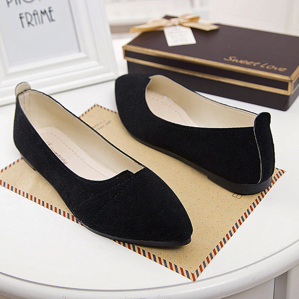 2019 Spring black soft leather shoes women larger sizes ballet flats pointed toe shallow mouth slip-on ladies loafer #N(China)