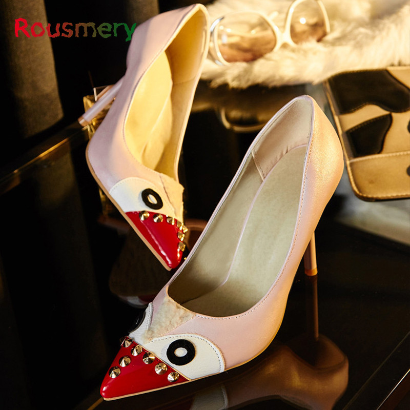ФОТО Fashion Angry Bird Woman Pumps Bling Rivet Shallow Lady Shoes Plus Size Metal Decoration Pointed Toe Thin Heels Woman Shoes
