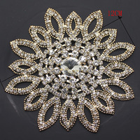12MM Golden Round Rhinestone Applique Flower Silver Bridal Wedding Sash And Belt Rhinestone Appliques For Evening