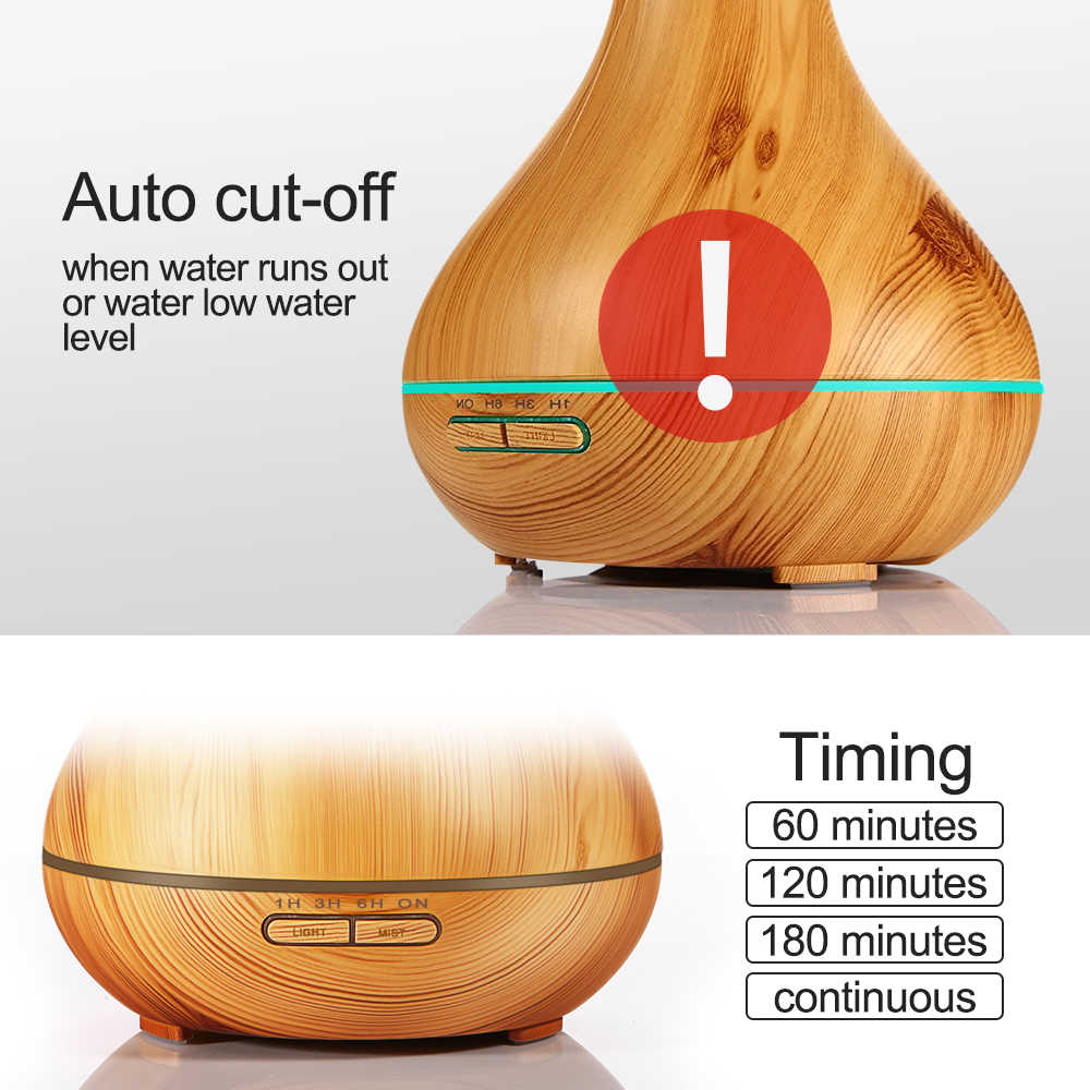 Diffuseur d'huile essentielle d'arome à télécommande de 550ml avec le Grain en bois 7 lumières de LED à couleur changeante pour la maison de bureau