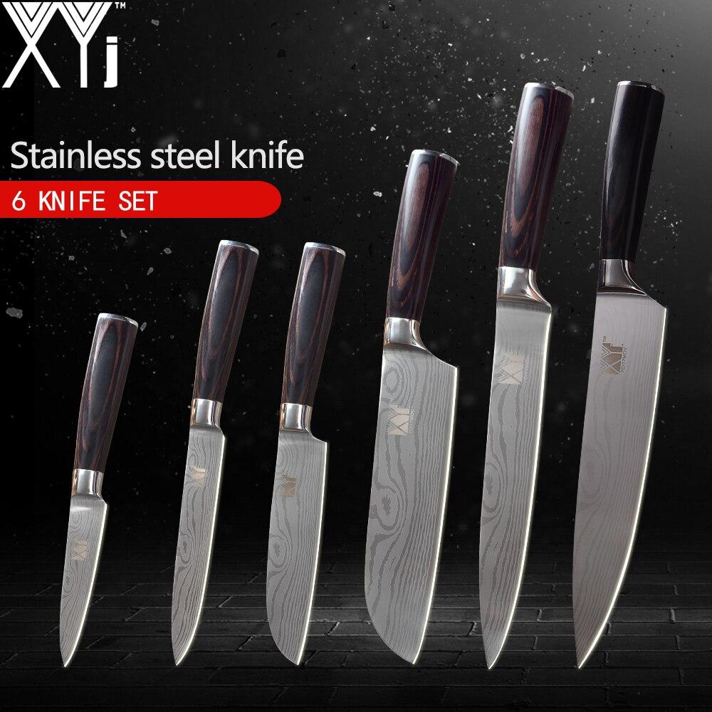 XYj 6 pcs Cuisine Couteaux Set de Haute Carbone 7Cr17Mov Acier Inoxydable Couteaux À Éplucher Utilitaire Santoku Tranchage Chef Couteau Cuisson Outils