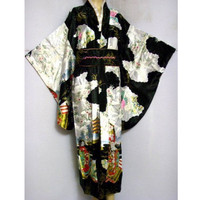 Black Spring New Vintage Japanese Women S Silk Satin Kimono Yukata Evening Dress Flower One Size