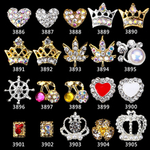 цена на 100PCS 3D Nail Art Decorations Gold Hollow Out Crown With Cross/cherry/leaf Rhinestones For Nails Glitters nail art charms