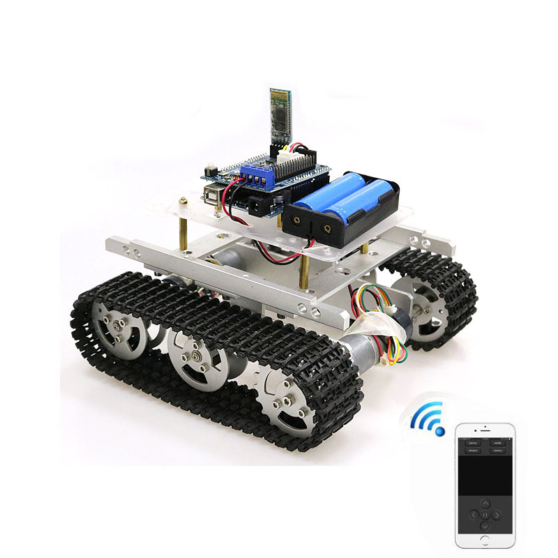 T100 Handle/Bluetooth/WiFi RC Control Robot Tank Chassis Car Kit for  Arduino with UNO R3, 4 Road Motor Driver Board, WiFi Module