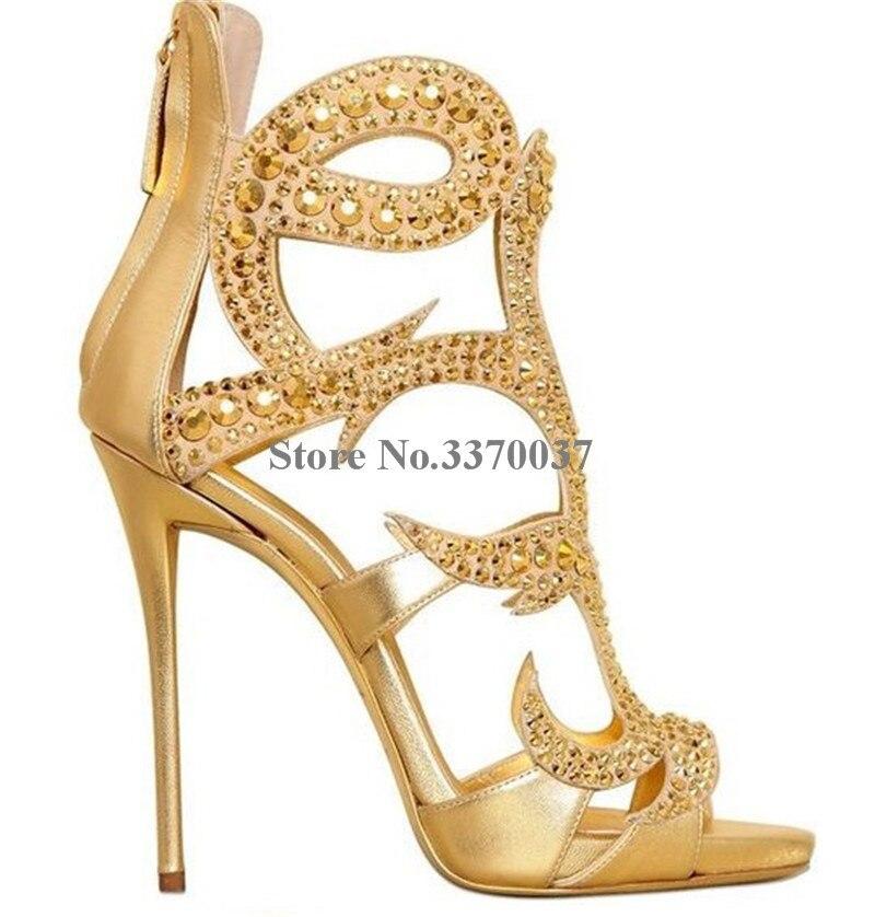 Frauen Luxuriöse Bling Bling Käfig Stil Strass Gladiator Sandalen Gold Schwarz Kristall Super High Heel Sandalen Hochzeit Schuhe-in Hohe Absätze aus Schuhe bei  Gruppe 2