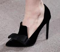Hot Selling Black Suede Butterfly knot Pumps Women Shoes Pointed Toe Deep V style Cut out Ladies Dress Shoes Elegant Thin Heels