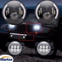 2X 7inch Round LED Headlight 4 LED Fog Light For Jeep Wrangler JK LJ TJ CJ