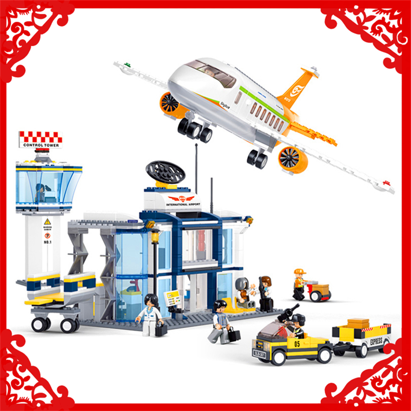 SLUBAN 0367 Block Compatible Legoe Aviation International Airport Model 678Pcs DIY Educational  Building Toys For Children hot sale 1000g dynamic amazing diy educational toys no mess indoor magic play sand children toys mars space sand
