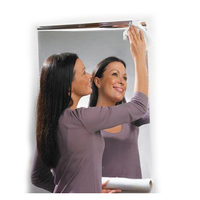 FUNLIFE 60x100 cm Película Espejo Reflectante Etiqueta Pegada Comercial Hogar Montaje Espejo de Tocador de Baño Etiqueta de La Pared Cafe G $