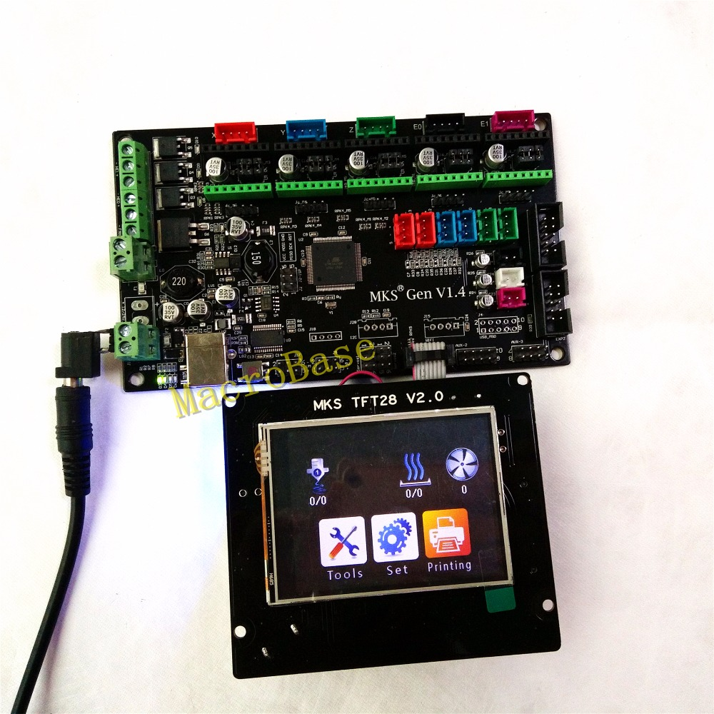 все цены на MKS GEN + MKS TFT28 colorful touch screen 3d printer DIY starter kit ATmega2560 mainboard stm32 lcd display compatible ramps1.4 онлайн