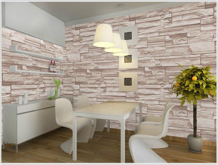 Modern Woonkamer Design : Modern d three dimensional design wallpaper roll stone brick