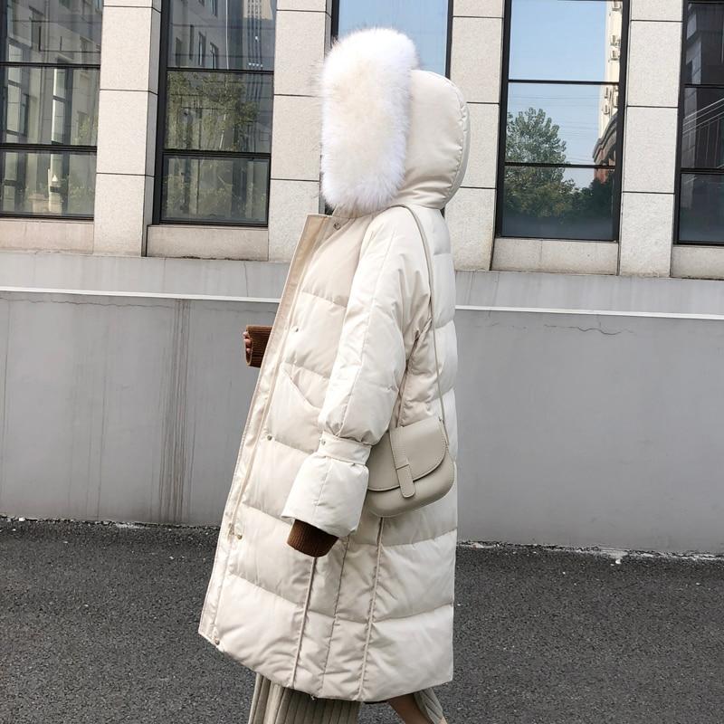 Winter   Down   Parka Women Natural Raccoon Fur Collar Hooded Long Outwear 2019 New Women's White Duck   Down   Jacket Winter   Coats