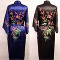 Free Shipping Hot Sale Chinese Men's Satin Silk Robe Embroidery Kimono Bath Gown With Pocket Size S M L XL XXL XXXL M4S001