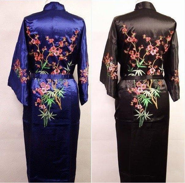 Frete grátis venda quente chinês homens de cetim de seda Robe Kimono bordados banho vestido com tamanho de bolso sml XL XXL XXXL M4S001