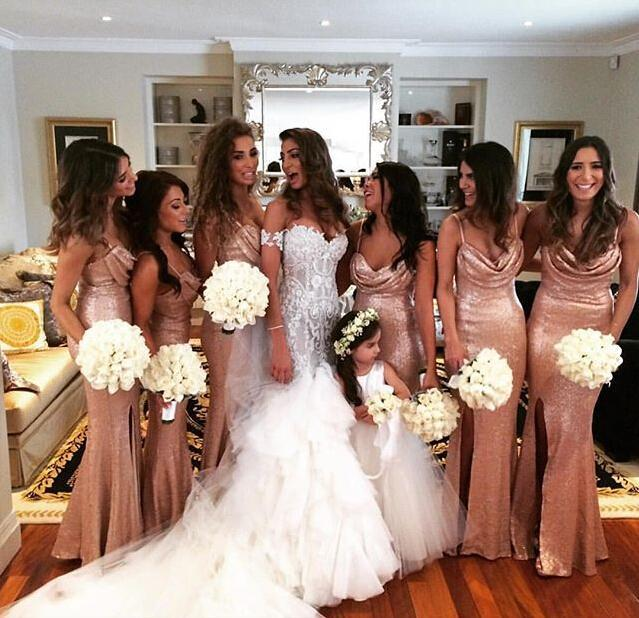 2017 new fashion long robe demoiselle dhonneur spaghetti straps sequins split rose gold bridesmaids
