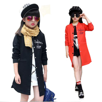 Big Child Clothes Girls Long Style Slim Fit Wind Coat Kids Fashion Outwear Jacket For Spring