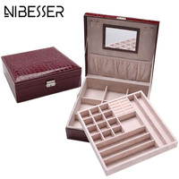 NIBESSER Luxury Leather Make Up Case Women Cosmetic Cases For Jewlery Makeup Cosmetic Box Organizer Holder