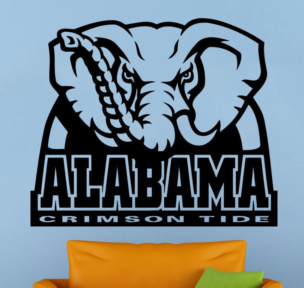 Alabama Crimson Wall Decal Logo Vinyl Sticker Art Sport Home Decor NCAA Football ...
