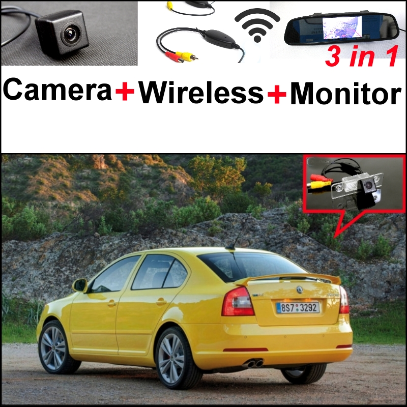 3 in1 Special Camera + Wireless Receiver + Mirror Monitor BACKUP Parking System For Skoda Octavia 1U MK1 1Z Laura MK2 1996~2014 wireless pager system 433 92mhz wireless restaurant table buzzer with monitor and watch receiver 3 display 42 call button
