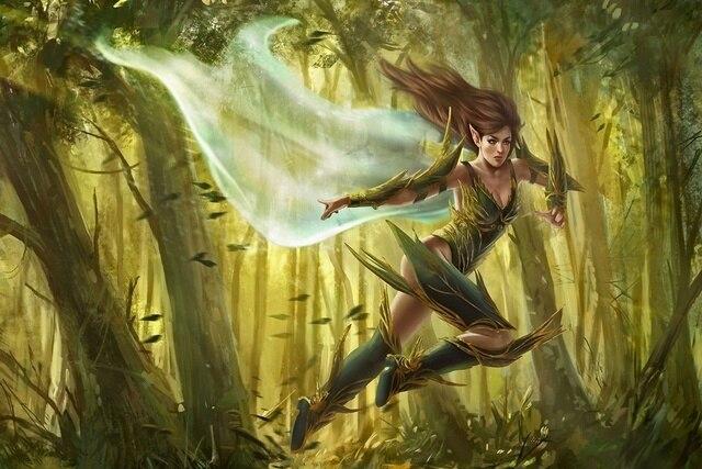 art fantasy elf girl running forest wind EA125 living room home wall ...