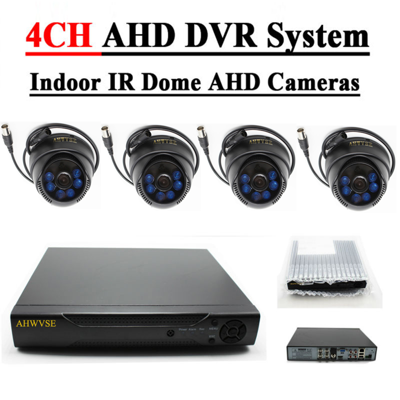 AHD 4CH KIT 1.0MP Indoor IR Dome AHD Camera 720P Home Security CCTV System Video Surveillance Set oupushi conference system 8 channel gooseneck uhf ppl wireless conference table microphone sound quality ceiling speaker