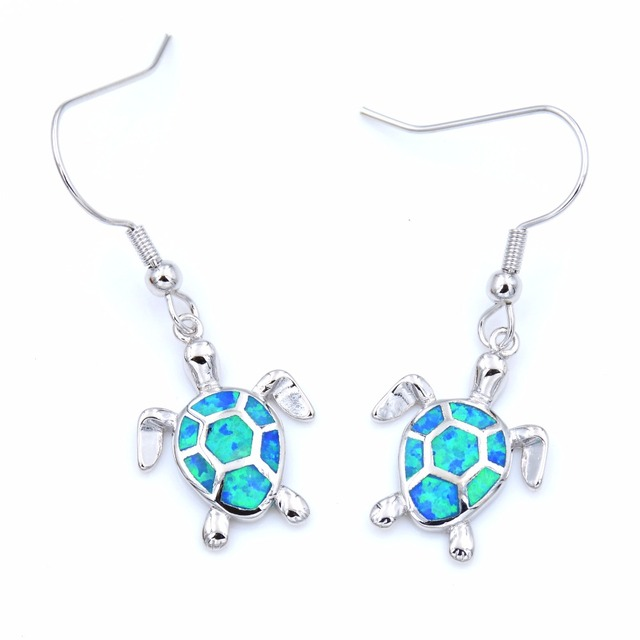 Cute Blue White Fire Opal Sea Turtle Earring