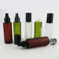 360 x 100ML Frosted Green Brown Toner Round Glass Bottle with Black Plastic Sprayer Cosmetic Packaging Mist Spray Container