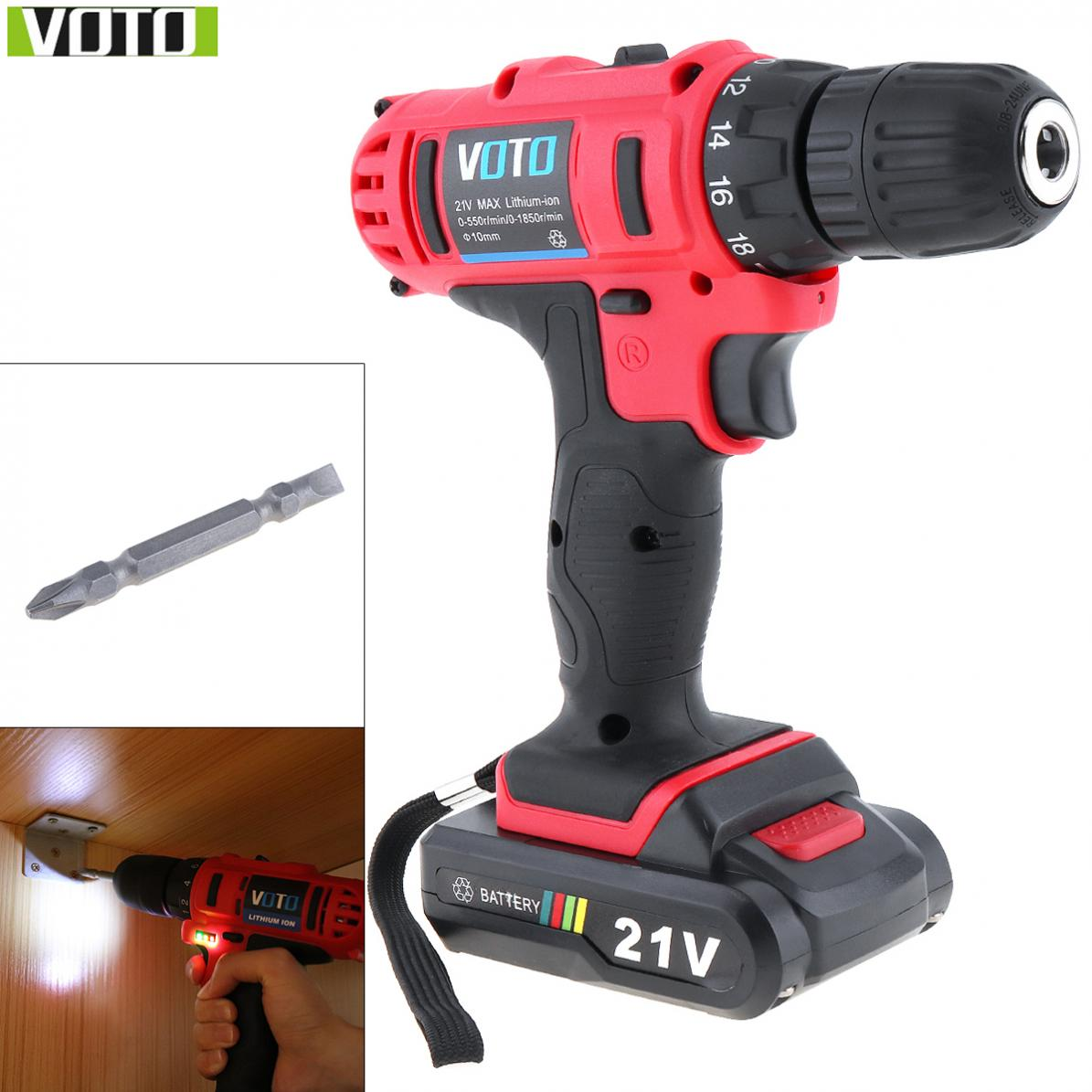 VOTO Electric Screwdrivers 100 240V Cordless 21V Two speed Electric Screwdriver with Lithium Battery for Handling
