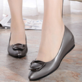 2017 spring genuine leather women's  shoes slope with the side buckle fashion shallow mouth comfort plus size 35-43 # Peas shoes