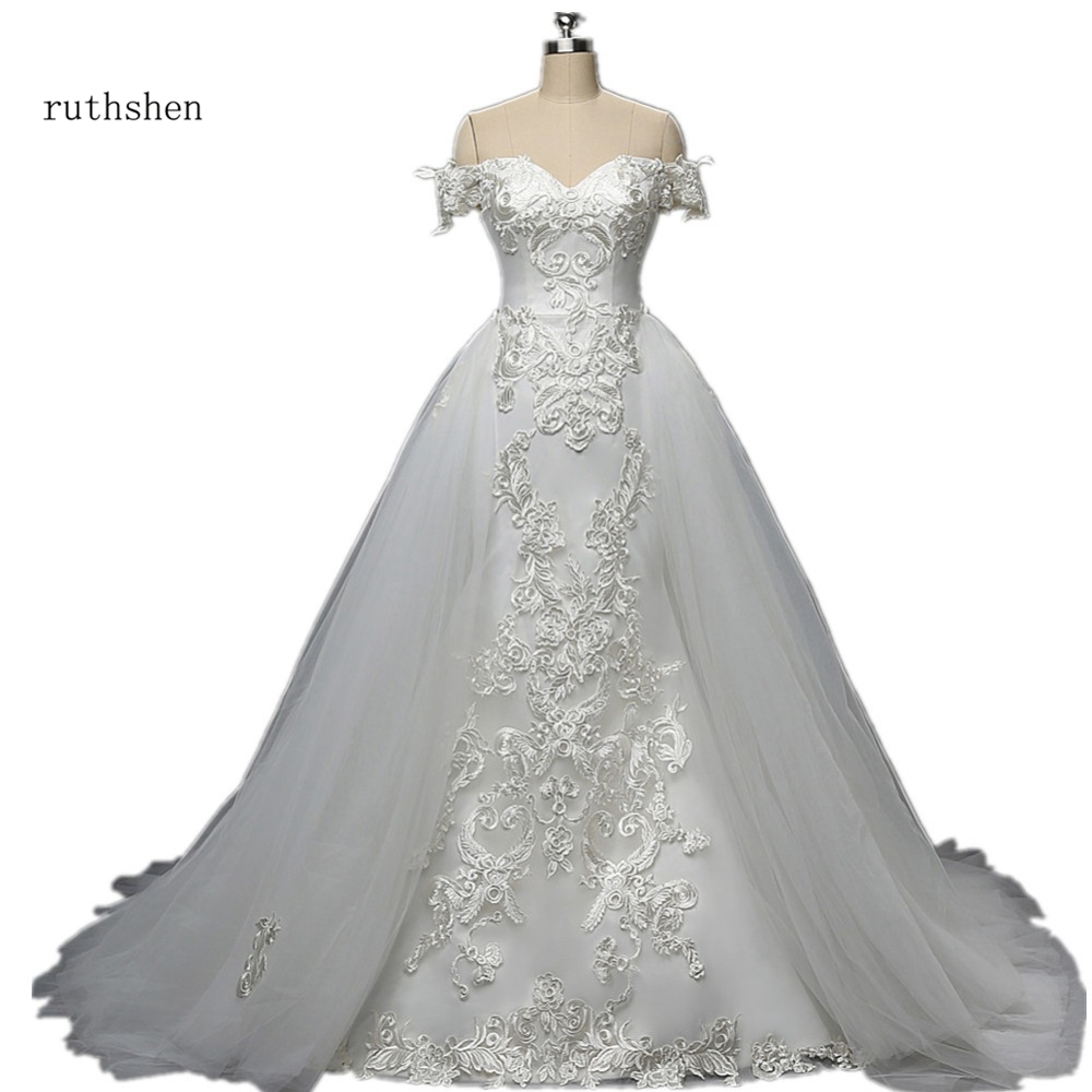 Gorgeous Real Photo Mermaid Wedding Dress With Short Sleeves Detachable Train Luxury Lace Appliques Bridal Gown