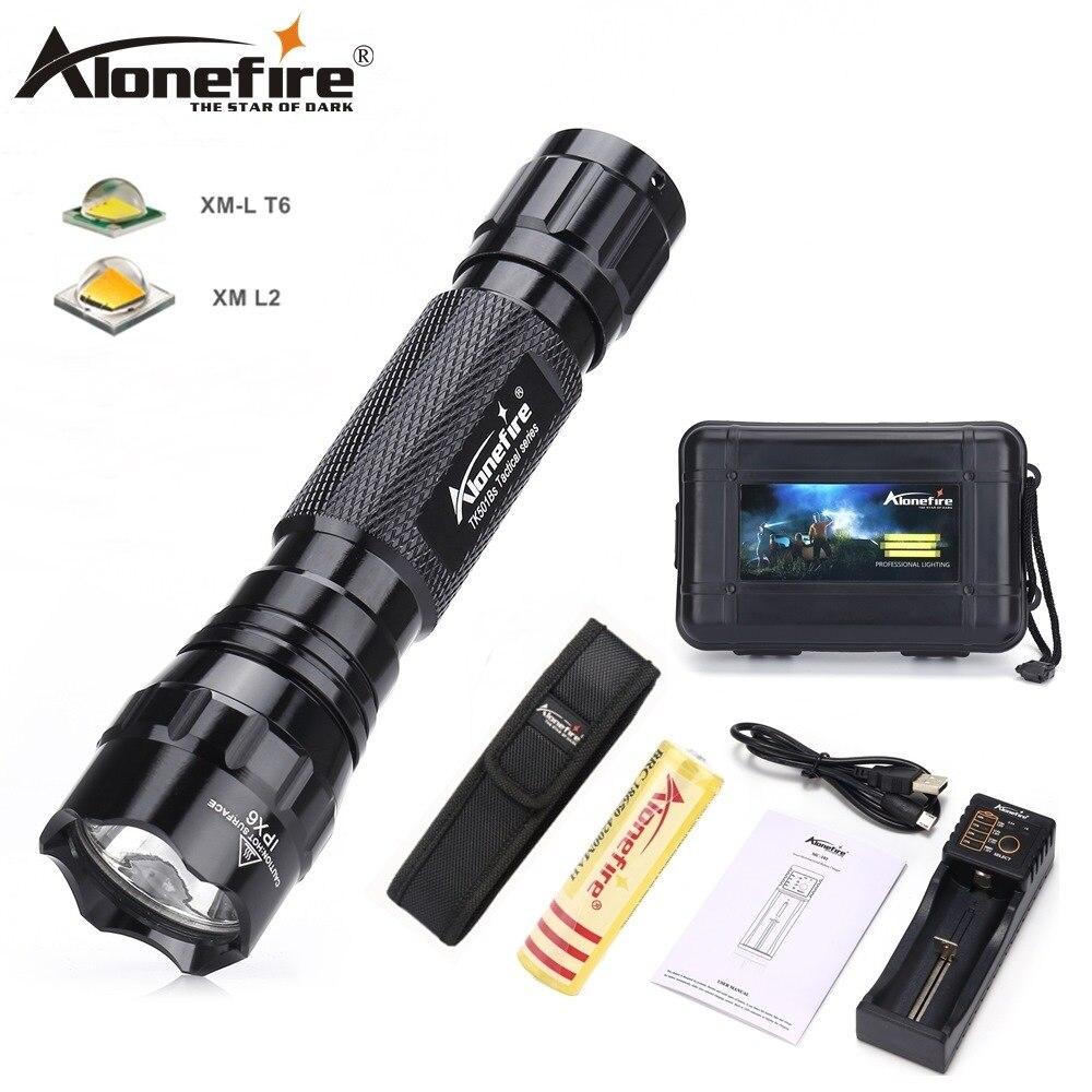 AloneFire 501B XM-L T6 L2 U3 Taktische taschenlampe leistungsstarke Wasserdichte laterne Outdoor Camping lichter 18650 akku