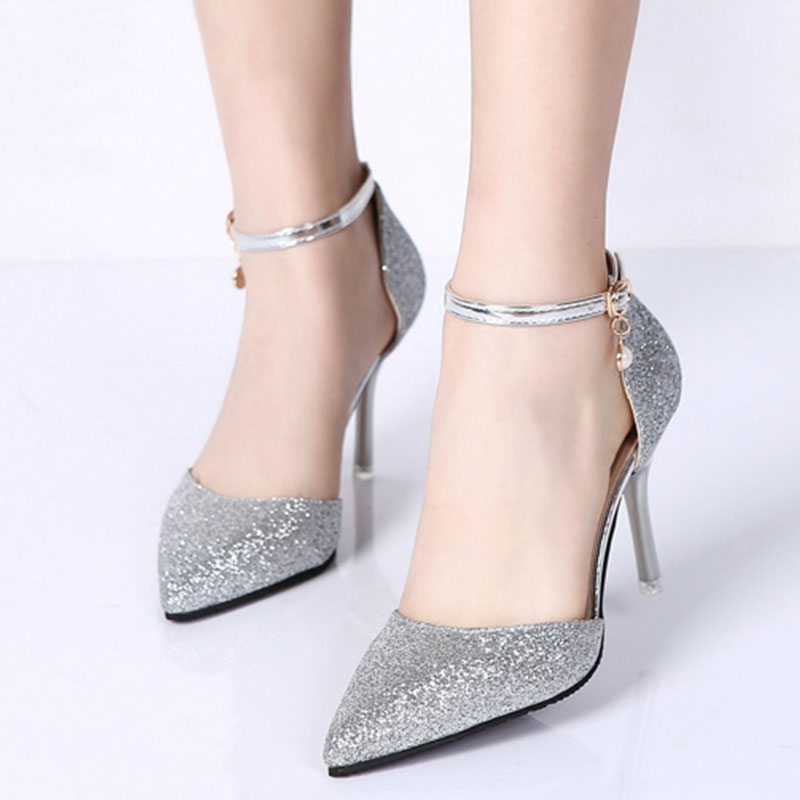 Lucyever Fashion Buckle Crystals Bling Pumps Women Elegant Thin High Heels Point toe Party Wedding Shoes Woman Glod Sliver Black 5