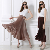 2018 summer New hot sale Fashion Women's High Waist Pleated Solid Color Half Length Elastic Skirt Black Pink 8 colors