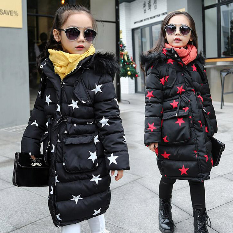2016 Winter Star Girls Coats Long Cotton Jackets Hooded Faux Fur Collar Children Baby Clothes Thick Outdoor Parka Clothing Q2088 new winter coats women jackets large faux fur collar thick plus velvet ladies parka hooded jacket outwear s1083