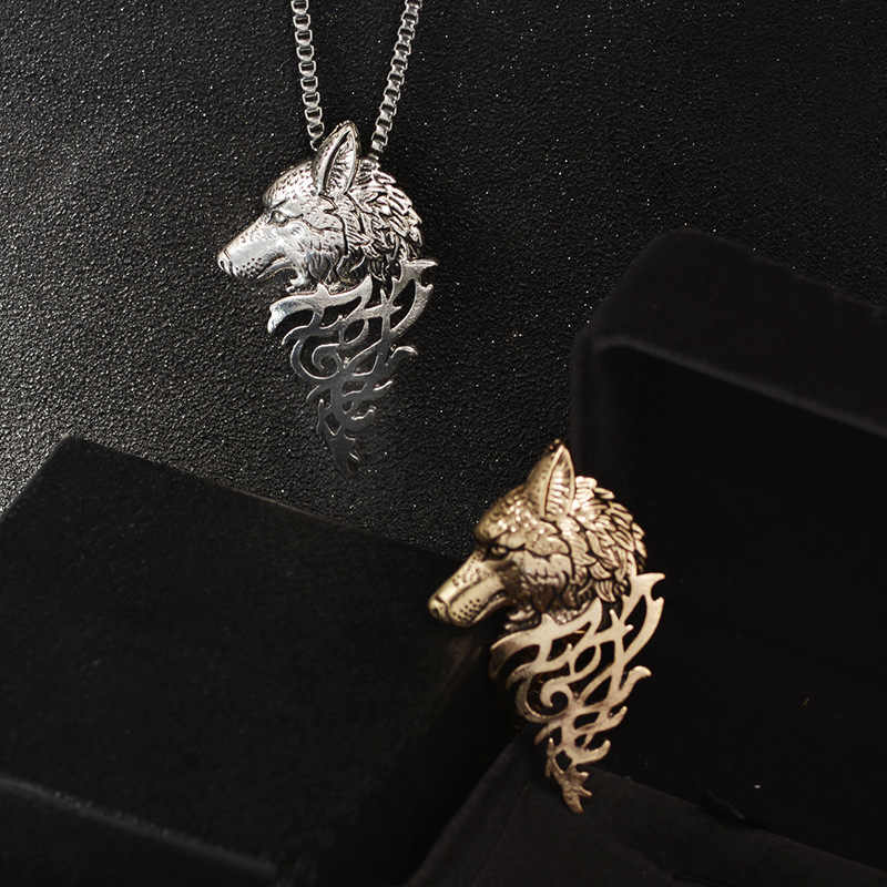 Hyperbole Wolf Pendant Necklace for Men Wolf Head Necklaces 2018 New Link Chain Shellhard Zinc Alloy Necklace Jewelry for Men