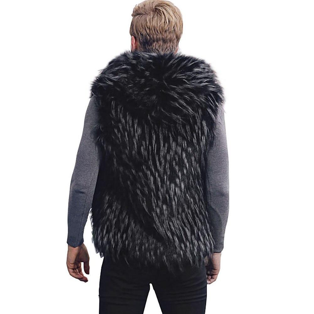 Men Faux Fur Vest Jacket Sleeveless Winter Body Warm Coat Hooded Waistcoat Gilet 8.28