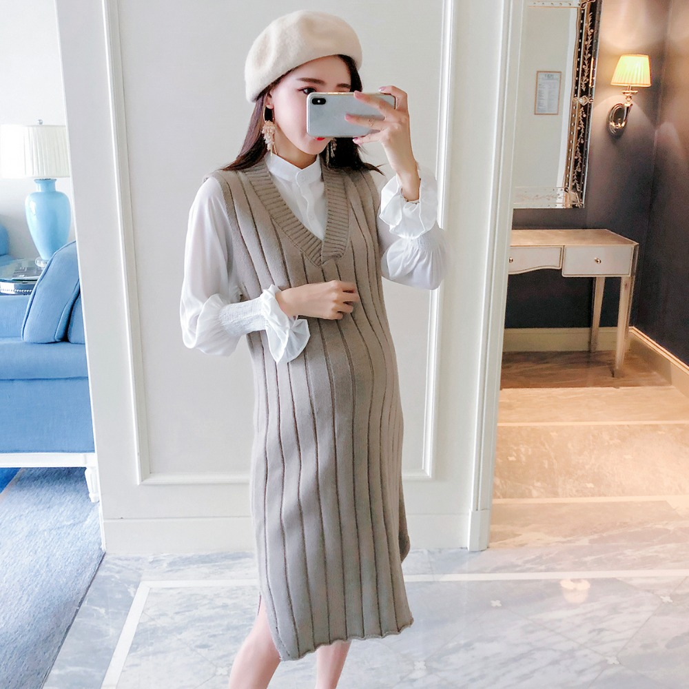 Pregnant women sweater two-piece autumn and winter new long-sleeved white shirt large size maternity dress maternity sweater autumn and winter maternity clothing plus size long sleeve sweater one piece dress pullover knitted