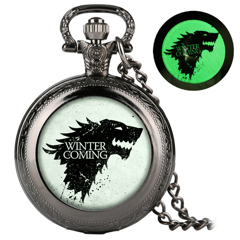 Quartz Pocket Watch Retro For Women Men Ice Wolf Pattern Luminous Patch Link Chain Watches Gift For Pocket Watch With Necklace