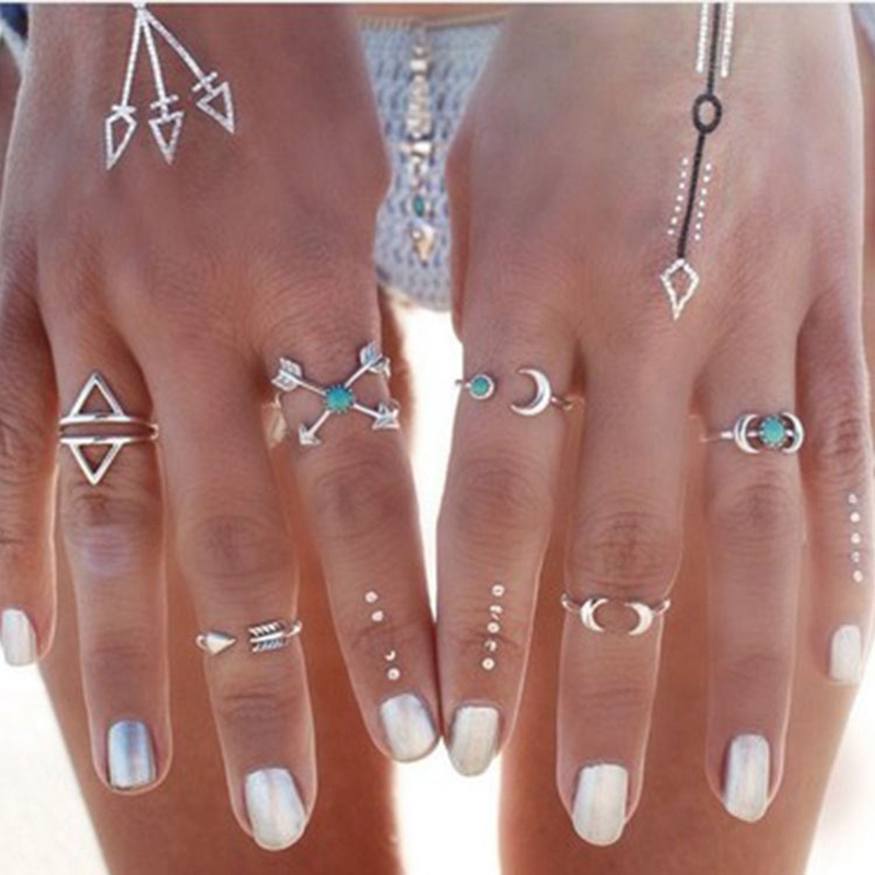 Verstandig Nieuwe Retro Zilveren Ringen Set Voor Vrouwen Boho Geometrische Moon Pijl Vingers Ringen Partij Sieraden Decoratie Groothandel Bijoux Femme Tuur 100% Garantie