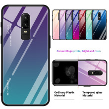 Gradient Tempered Glass Case For Oneplus 7 Pro 1+7 Shockproof Original Silicone Back Cover For Oneplus 6 One plus 6T 1+6T 1+7pro