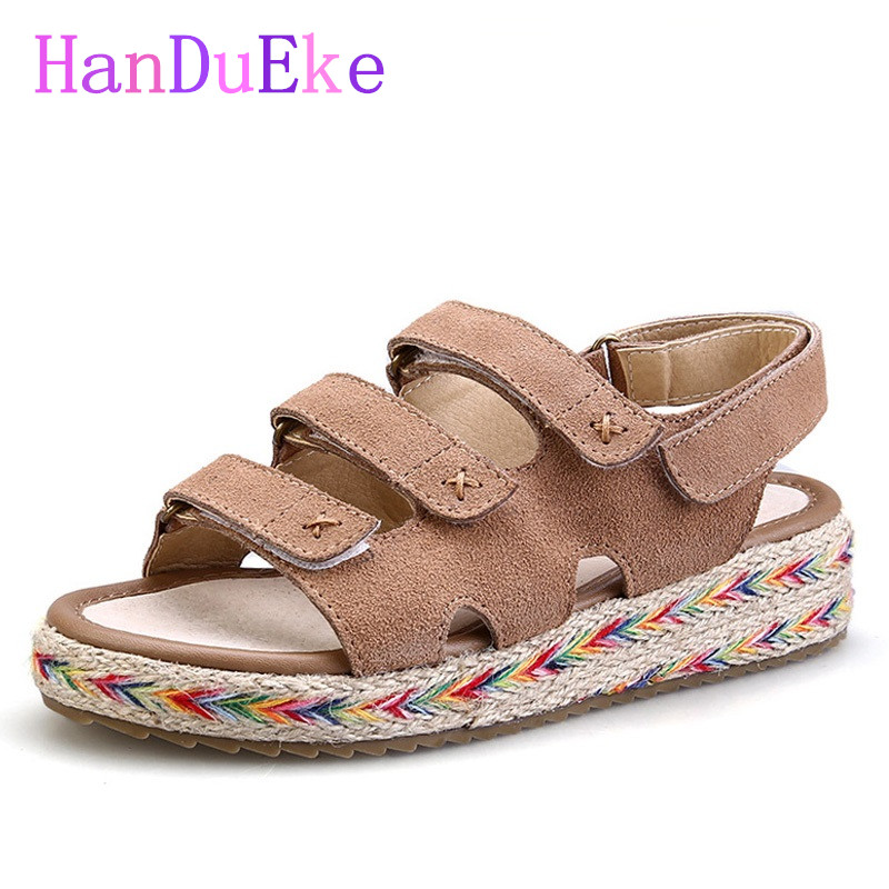 HanDuEKe New 2017 Genuine Leather Gladiator Sandals Summer Beach Shoes Woman Fashion Wedges Platform Sandals Women Casual Shoes phyanic 2017 gladiator sandals gold silver shoes woman summer platform wedges glitters creepers casual women shoes phy3323