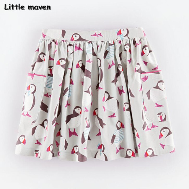 Little maven 2017 new summer baby girl clothes penguin printing cotton mini A-line skirt S0165