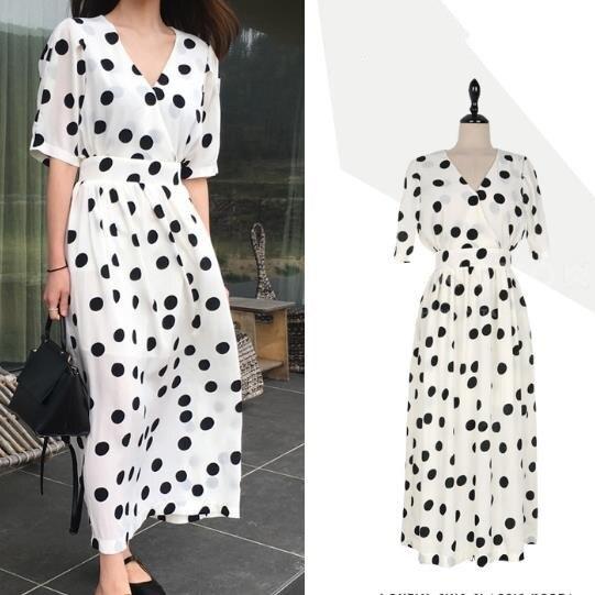 2018 summer fashion Vintage Polka Dot Deep V Neck Short Sleeve high waist Women Dress