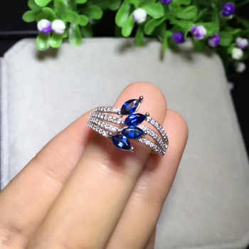 Natural blue sapphire Ring Natural gemstone Ring S925 sterling silver trendy Elegant array feather women party gift Jewelry