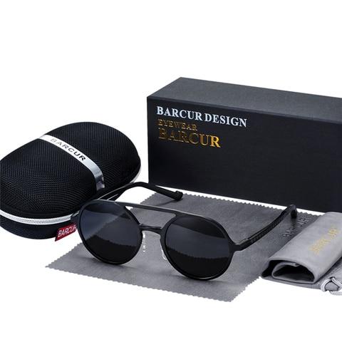 BARCUR Retro Aluminum Magnesium Sunglasses Polarized Vintage Eyewear Accessories Women Sun Glasses Driving Men Round Sunglasses Multan